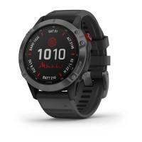 Часы FENIX 6 Pro Solar серый с черным ремешком