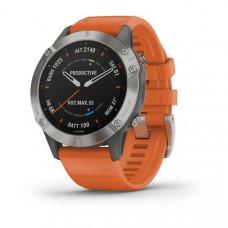 Часы FENIX 6 Sapphire титановый с оранжевым ремешком