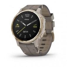Часы FENIX 6S Sapphire золотистый с серым кожаным ремешком