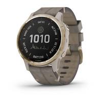 Часы FENIX 6S Pro Solar золотистый с серым замшевым ремешком