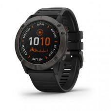 Часы FENIX 6X Pro Solar титановый серый DLC с черным ремешком